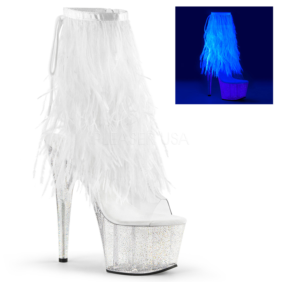 Pleaser Adore 1017MFF Ankle Boots with Clear Polymer Platform & Heel and White Marabou Fringed Shaft
